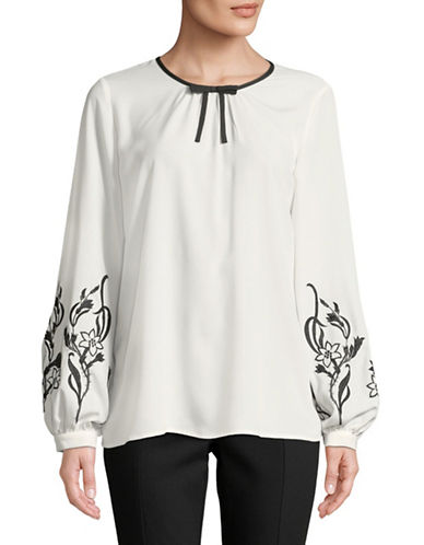 Karl Lagerfeld Paris Long-Sleeve Embroidered Peasant Blouse-WHITE-X-Small