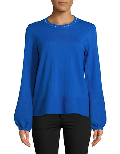 Karl Lagerfeld Paris Faux Pearl-Trim Top-BLUE-Large
