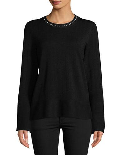 Karl Lagerfeld Paris Faux Pearl-Trim Top-BLACK-X-Large