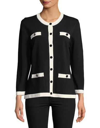 Karl Lagerfeld Paris Long-Sleeve Tipped Cardigan-BLACK-Large