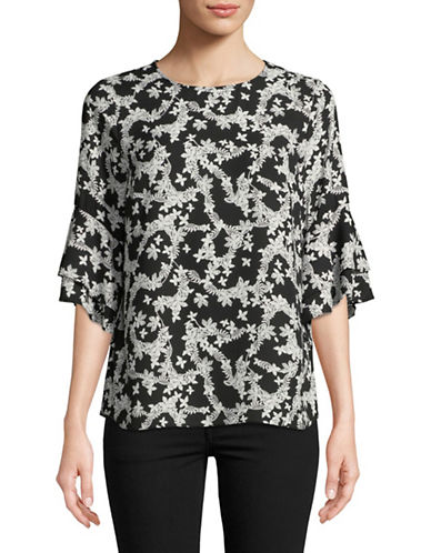 Karl Lagerfeld Paris Floral Flutter-Sleeve Blouse-BLACK/WHITE-Small