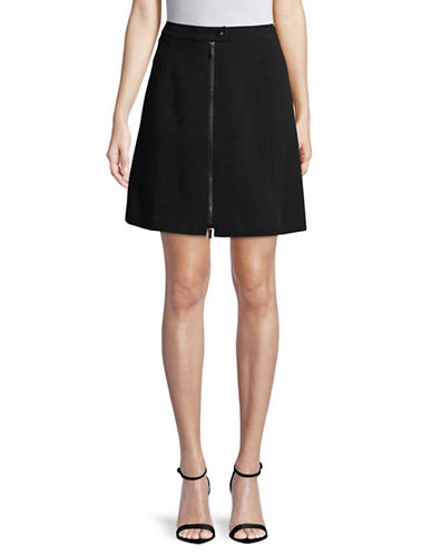 Karl Lagerfeld Paris Zip A-Line Skirt-BLACK-6