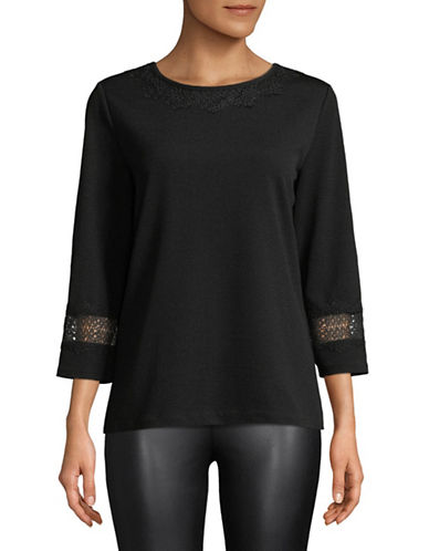 Karl Lagerfeld Paris Lace-Trimmed Top-BLACK-Medium 89836038_BLACK_Medium