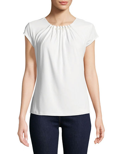 Karl Lagerfeld Paris Faux Pearl-Trimmed Short-Sleeve Top-SOFT WHITE-Small
