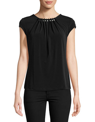 Karl Lagerfeld Paris Faux Pearl-Trimmed Short-Sleeve Top-BLACK-Large