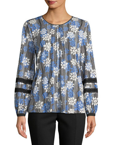 Karl Lagerfeld Paris Lace Bell-Sleeve Knit Top-BLUE-X-Large
