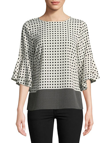 Karl Lagerfeld Paris Polka Dot Flutter-Sleeve Blouse-BLACK DOT-X-Large