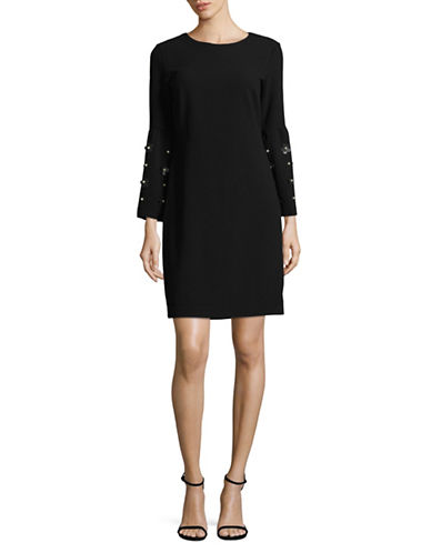 Karl Lagerfeld Paris Faux Pearl and Floral Applique Dress-BLACK-10