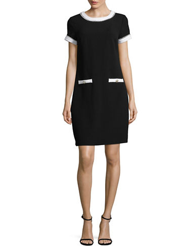 Karl Lagerfeld Paris Faux Pearl Embellished Dress-BLACK-8