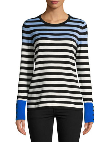 Karl Lagerfeld Paris Striped Long-Sleeve Pullover-BLUE-Large
