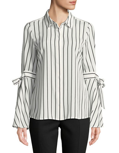 Karl Lagerfeld Paris Tie-Sleeve Striped Blouse-WHITE-Large