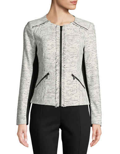 Karl Lagerfeld Paris Long Sleeve Multi-Tweed Blazer-WHITE-10