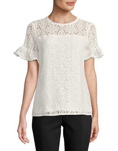 Karl Lagerfeld Paris Short Sleeve Lace Blouse-SOFT WHITE-Large