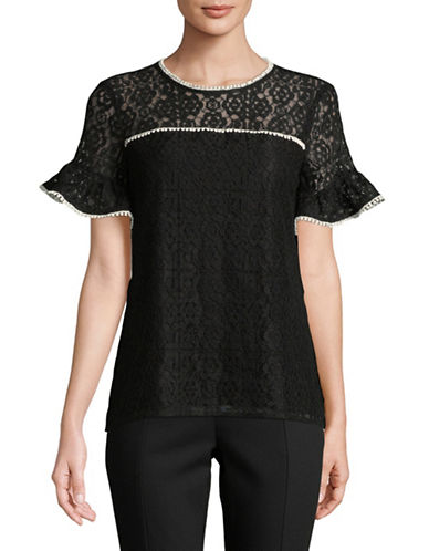 Karl Lagerfeld Paris Short Sleeve Lace Blouse-BLACK-Large