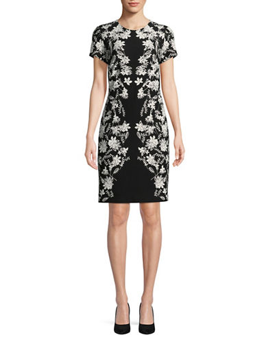 Karl Lagerfeld Paris Floral-Print Lace Border Dress-BLACK-12
