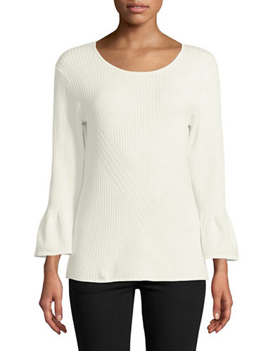 Karl Lagerfeld Paris Ribbed Bell-Sleeve Top-SOFT WHITE-Small