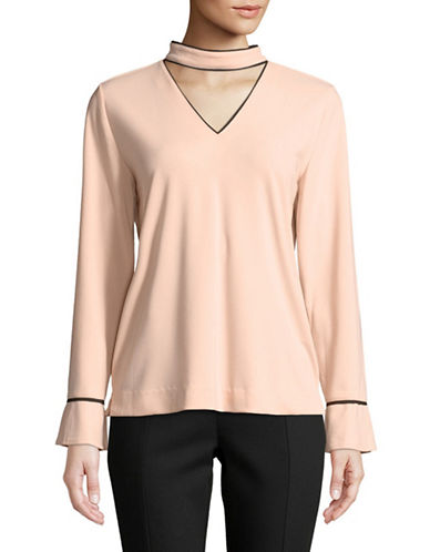 Karl Lagerfeld Paris Long-Sleeve Choker Blouse-PINK-Medium