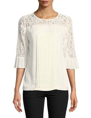 Karl Lagerfeld Paris Pleat Front Lace Yoke Three-Quarter Sleeve Top-SOFT WHITE-Medium