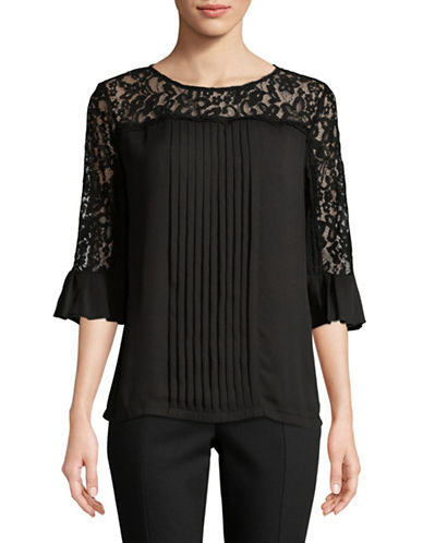 Karl Lagerfeld Paris Pleat Front Lace Yoke Three-Quarter Sleeve Top-BLACK-Small