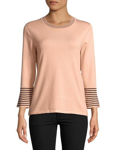 Karl Lagerfeld Paris Striped Long-Sleeve Sweater-BLUSH-X-Small