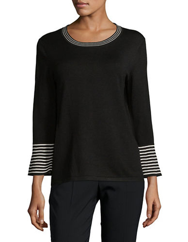 Karl Lagerfeld Paris Striped Long-Sleeve Sweater-BLACK-X-Large