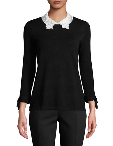 Karl Lagerfeld Paris Bow and Lace Collar Pullover-BLACK-Small