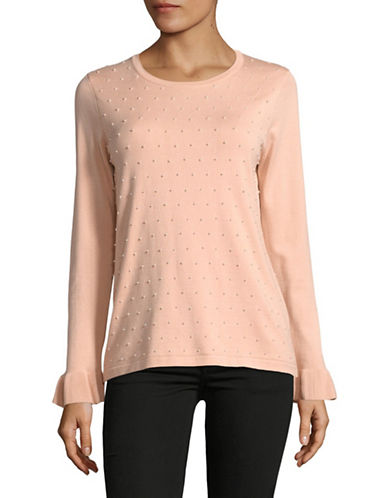 Karl Lagerfeld Paris Long Sleeve Embellished Top-PINK-X-Large