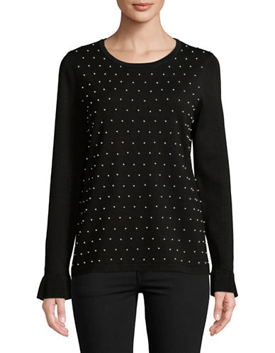 Karl Lagerfeld Paris Long Sleeve Embellished Top-BLACK-X-Large