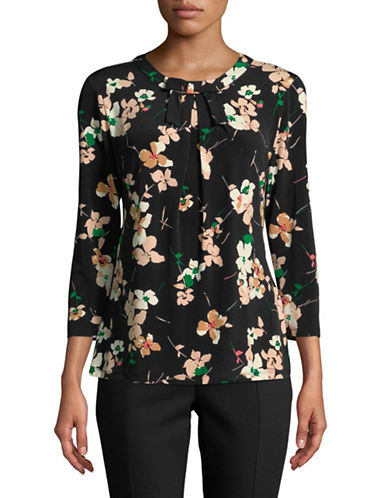Karl Lagerfeld Paris Floral Three-Quarter Sleeve Top-BLACK-X-Small