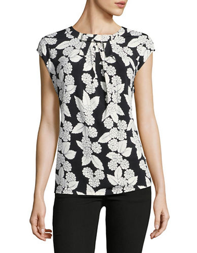 Karl Lagerfeld Paris Pleated Floral Top-GREY-X-Large