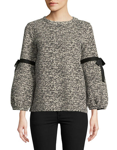 Karl Lagerfeld Paris Bowtie Marled Bubble-Sleeve Top-GREY-X-Large