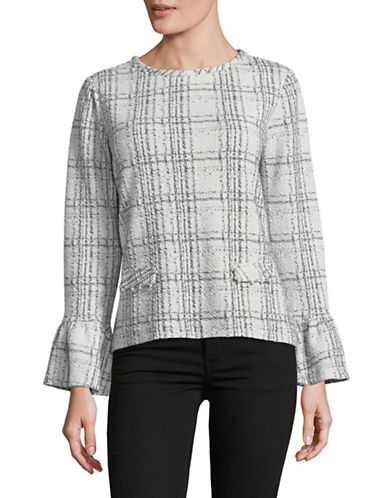 Karl Lagerfeld Paris Grid Bell-Sleeve Top-WHITE-Medium