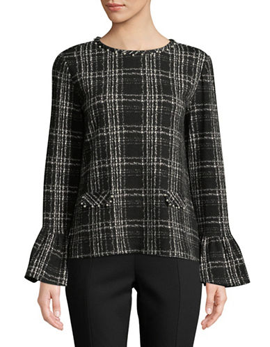 Karl Lagerfeld Paris Grid Bell-Sleeve Top-BLACK-X-Small