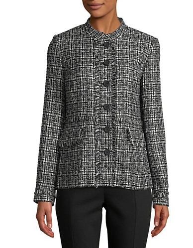 Karl Lagerfeld Paris Fringed Tweed Blazer-BLACK-16