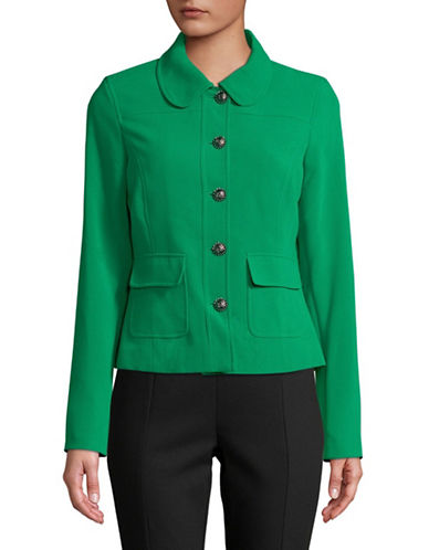 Karl Lagerfeld Paris Peter Pan Collar Long-Sleeve Blazer-GREEN-14