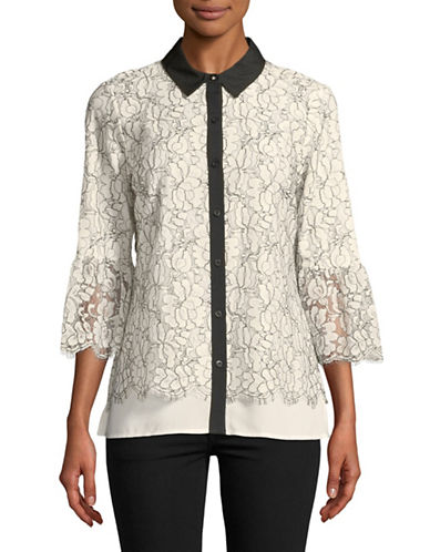 Karl Lagerfeld Paris Lace Bell-Sleeve Button-Down Shirt-WHITE-Small