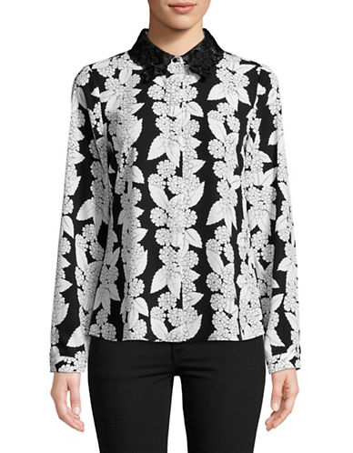 Karl Lagerfeld Paris Illusion Lace Ruffle Floral Blouse-WHITE-Large