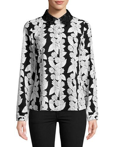 Karl Lagerfeld Paris Illusion Lace Ruffle Floral Blouse-WHITE-Medium