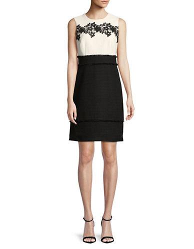Karl Lagerfeld Paris Lace-Trim Sleeveless Sheath Dress-WHITE/BLACK-12