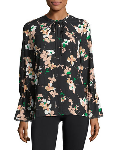 Karl Lagerfeld Paris Floral Neck Tie Long-Sleeve Blouse-BLUSH MULTI-Large