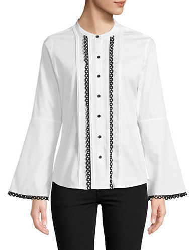 Karl Lagerfeld Paris Rick Rack Bell Sleeved Blouse-WHITE-X-Large
