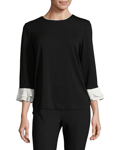 Karl Lagerfeld Paris Flutter Sleeve Blouse-BLACK-X-Small