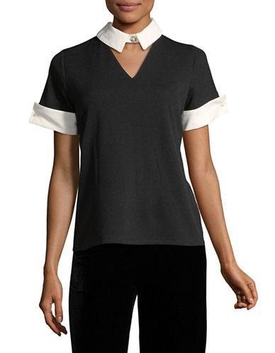 Karl Lagerfeld Paris Choker Collar Tee-BLACK-Large 89665076_BLACK_Large