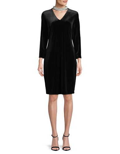 Karl Lagerfeld Paris Velvet and Pearl Choker Dress-BLACK-10