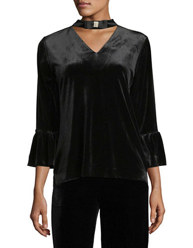 Karl Lagerfeld Paris Flutter Sleeve Velvet Choker Top-BLACK-X-Large