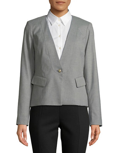 Karl Lagerfeld Paris One Button Blazer-GREY-14