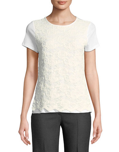 Karl Lagerfeld Paris Floral Lace Short-Sleeve Top-WHITE-Small