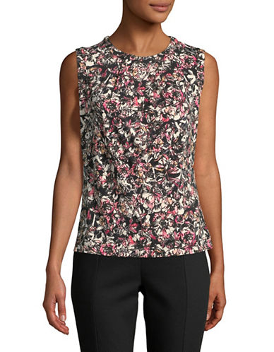 Karl Lagerfeld Paris Printed Foldover Top-PINK-Medium