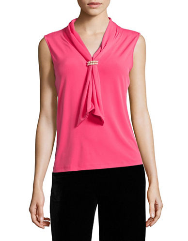Karl Lagerfeld Paris Faux Pearl-Trimmed Tie Neck Top-PINK-Large