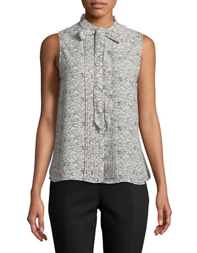 Karl Lagerfeld Paris Self-Tie Floral-Print Blouse-GREY/BLACK-Large